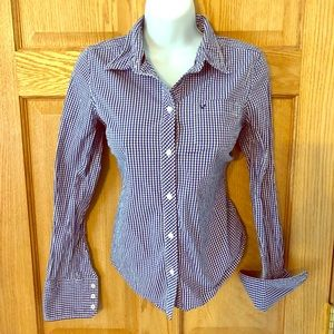 American Eagle Blue Check Cotton Stretch Blouse S